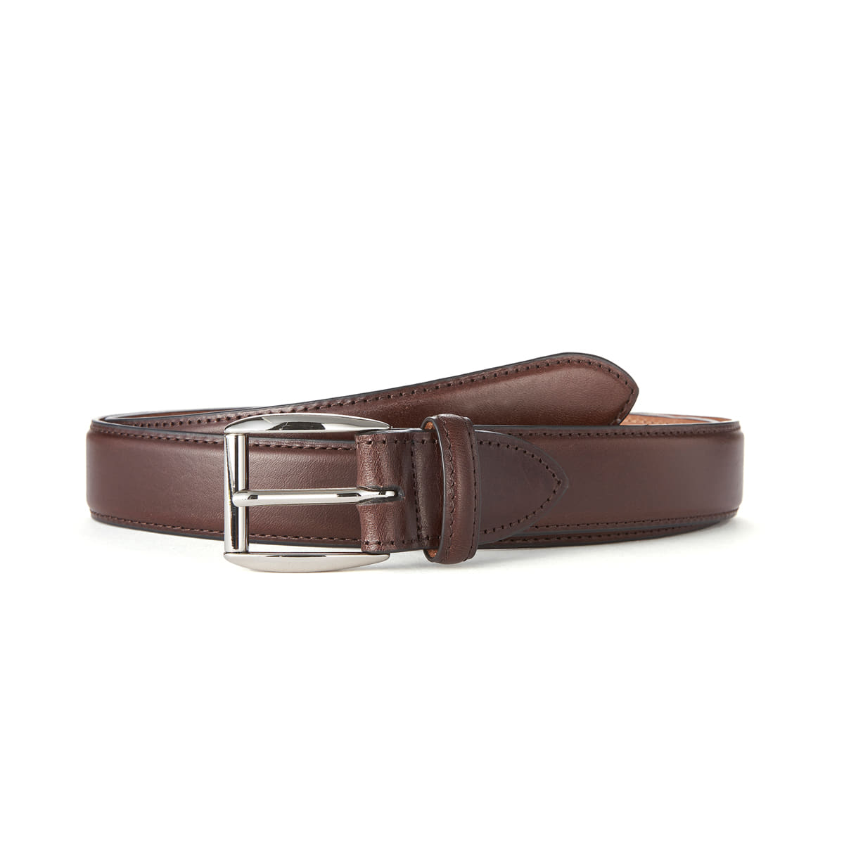Dk brown leather belt (Silver Buckle)