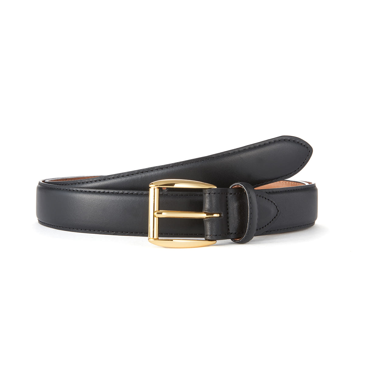 Black Leather Belt (Gold Buckle)