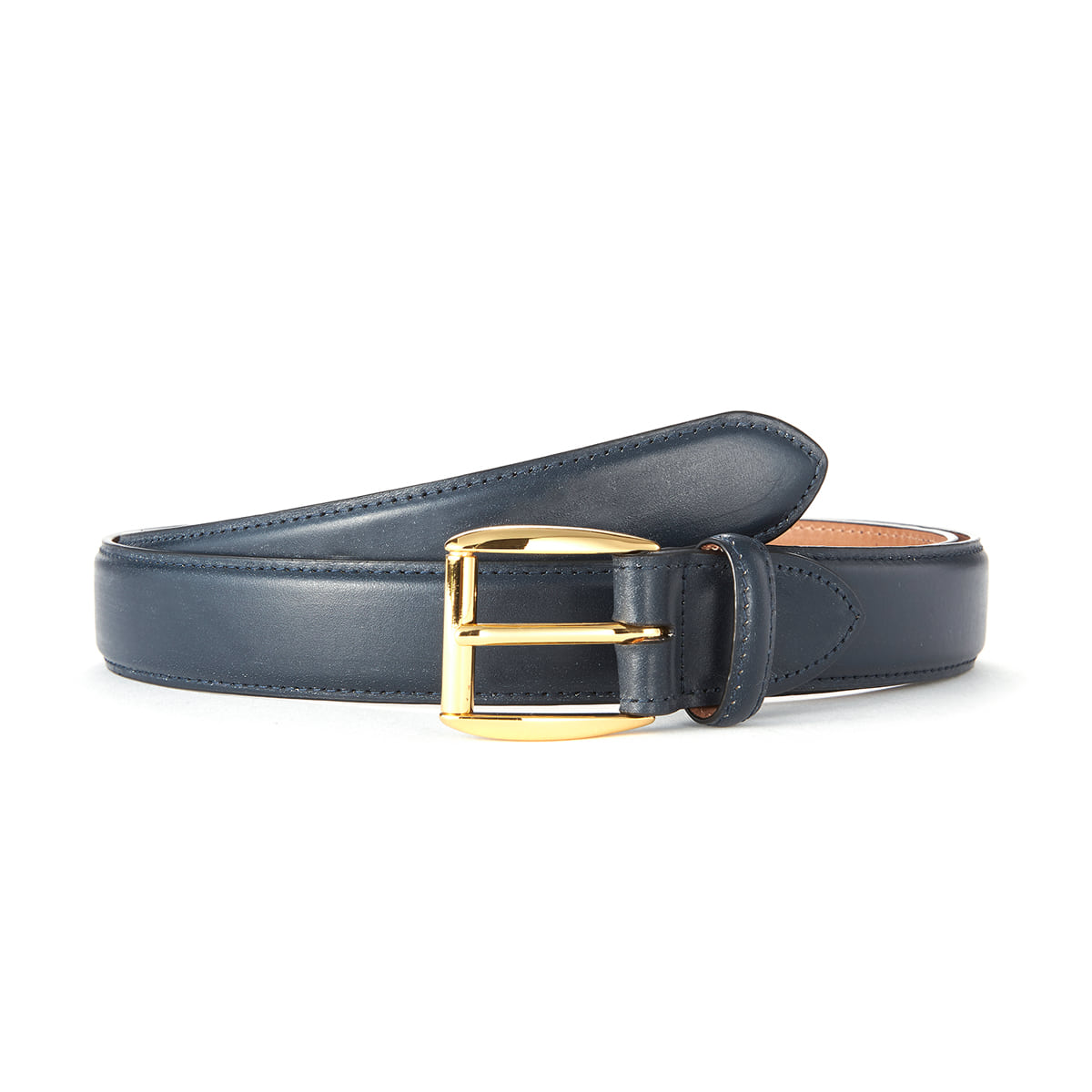Navy Bridle Leather Belt (Gold Buckle)