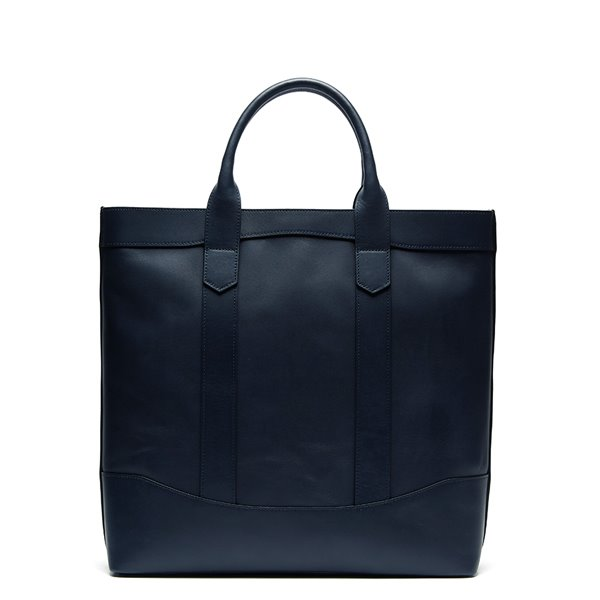 Dark Navy Leather D.L Tote Bag