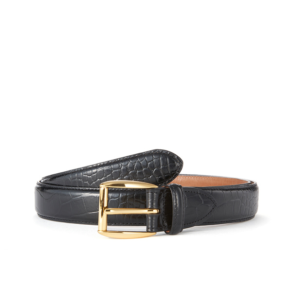 Black Croc Leather Belt (Gold Buckle)