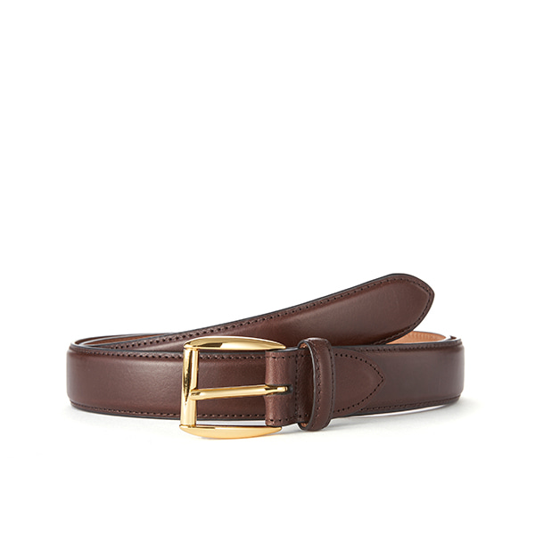 Dk brown Leather Belt (Gold Buckle)