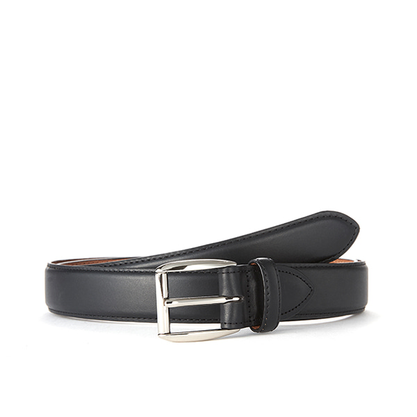 Black Leather Belt (Silver Buckle)
