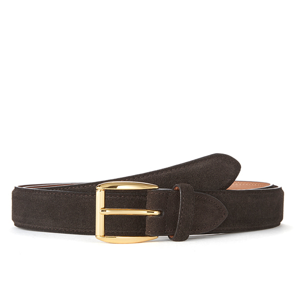 Dk brown Suede Belt (Gold Buckle)
