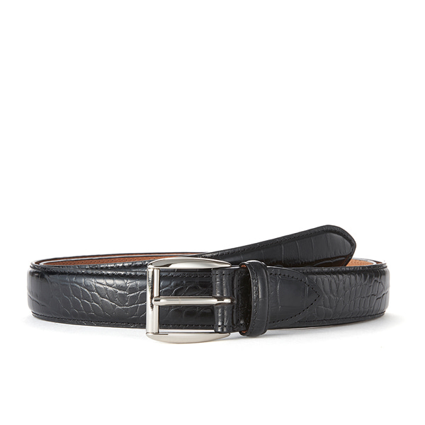Black Croc Leather Belt (Silver Buckle)