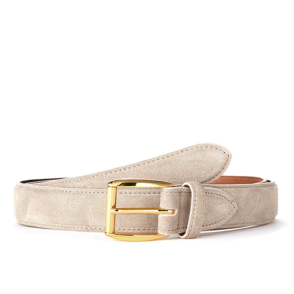 Beige Suede Belt (Gold Buckle)