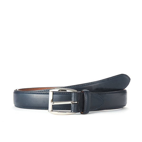 Navy Bridle Leather Belt (Silver Buckle)