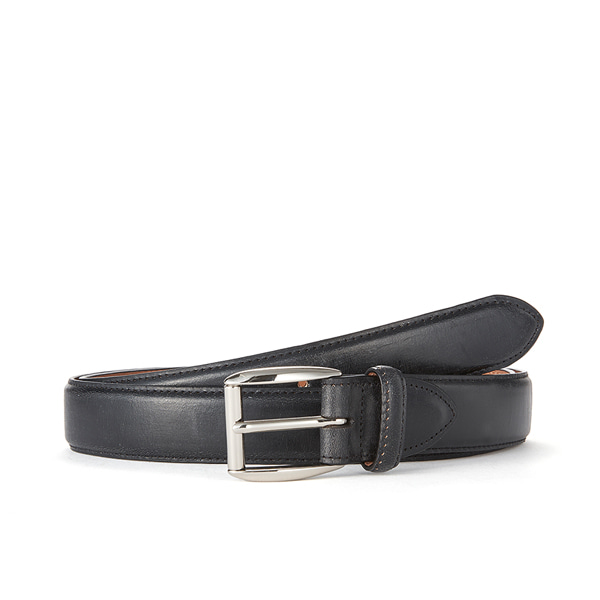 Black Bridle Leather Belt (Silver Buckle)