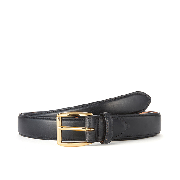 Black Bridle Leather Belt (Gold Buckle)